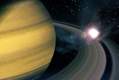 Saturn and supernova Royalty Free Stock Images