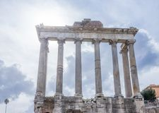 Saturn Temple in the Roman Forum, Italy royalty free stock image