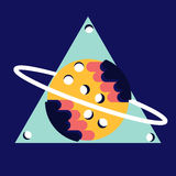 Saturn in triangle  flat design.ball. Saturn in triangle  flat design Royalty Free Stock Images