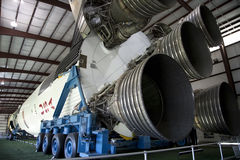 Saturn V moon rocket in space center Stock Photos