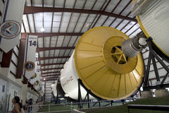 Saturn V moon rocket in space center Houston. Saturn V moon rocket in Houston space center  interior, TX USA Royalty Free Stock Photography