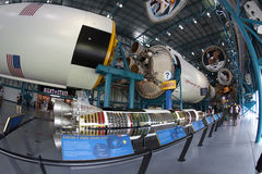 Saturn V rocket. A view of a Saturn V rocket on display in the Kennedy Space Center, Florida Stock Photo