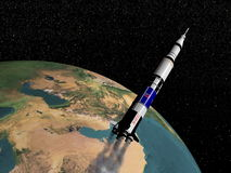 Saturn V spaceship - 3D render Stock Photography
