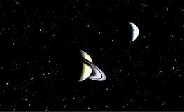 Saturn View. This is Saturn in the nighttime sky Royalty Free Stock Photo