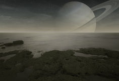 Saturn view from Titan moon Royalty Free Stock Images