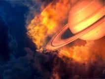 Saturne et espace en ciel de coucher du soleil Photos libres de droits