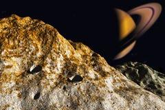 Saturne et lune illustration de vecteur