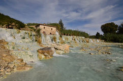 Saturnia Hot Springs with a Waterfall Royalty Free Stock Images