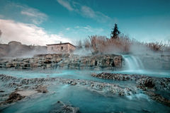 Saturnia Thermal bath in Tuscany, Italy. Thermal bath in Tuscany, morning, sunrise, Saturnia, Italy Royalty Free Stock Photo
