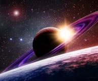 Saturno e luna illustrazione vettoriale