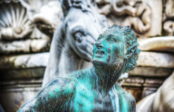 Satyr bronze statue in Neptune fountain. In Florence, Italy Stock Photos