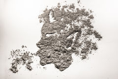 Satyr head blow dust illustration made in ash Stock Image