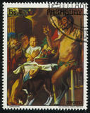 Satyr and Peasant by Jordaens. RUSSIA KALININGRAD, 19 APRIL 2017: stamp printed by Paraguay, shows  Painting Satyr and Peasant by Jordaens, circa 1978 Royalty Free Stock Images