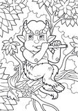 Satyr playing a flute while sitting on a branch Royalty Free Stock Photos