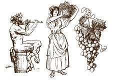Satyr sitting on the barrel, beautiful peasant woman carrying basket and bunch of grapes. Design elements for wine list. Hand drawn vector illustration in vector illustration