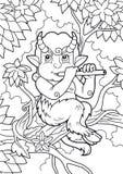 Satyre jouant une cannelure tout en se reposant sur une branche Photos libres de droits