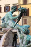 Satyrs in the Fountain of Neptune of Florence Stock Images