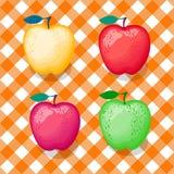 Satz Äpfel von verschiedenen Farben Vector Illustration auf kariertem orange nahtlosem Musterhintergrund Stock Abbildung