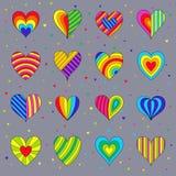 Satz Ð-¡ hildren ` s helle bunte Herzen, die auf Grey Backg lokalisiert werden Stockbild