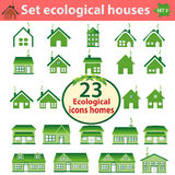Satz ökologische Häuser der unterschiedlichen Komplexität Stockfotografie