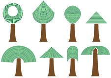 Satz abstrakte Bäume Lizenzfreies Stockfoto