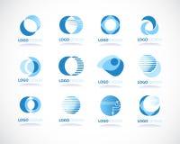 Satz abstrakte blaue Vektorikonen Stockbild
