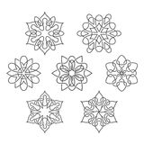 Satz abstrakte Blumen mit verwebenden Linien Lizenzfreie Stockfotografie