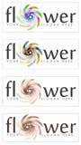 Satz abstrakte Blumenzeichen Stockbild