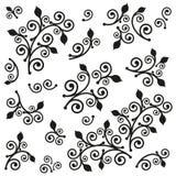 Satz abstrakte Elemente der Blumenblätter und der Spiralen Lizenzfreie Stockfotos