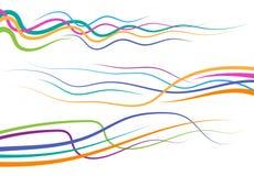 Satz abstrakte Farbgekrümmte linien Stockfotografie