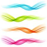 Satz abstrakte Farbtransparente gekrümmte Linien Lizenzfreies Stockfoto