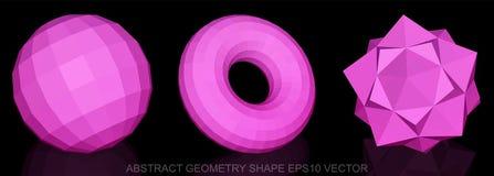 Satz abstrakte Geometrieform: Rosa Bereich, Torus, Octahedron 3D polygonale Gegenstände, ENV 10, Lizenzfreie Stockfotos