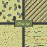 Satz abstrakte olivgrüne Muster Auch im corel abgehobenen Betrag Stockfotografie