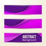 Satz abstrakte purpurrote Fahnen Hintergrund drei Lizenzfreie Stockbilder