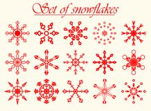 Satz abstrakte snwoflakes lizenzfreies stockbild