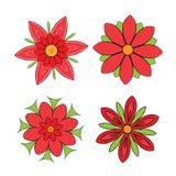 Satz abstrakte symmetrische rote Blumen mit den Blumenblättern Lizenzfreie Stockfotos
