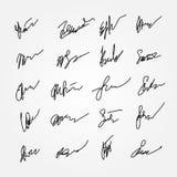 Satz abstrakte Unterzeichnungen Unlesbare Autogramme stock abbildung