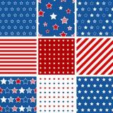 Satz abstrakten geometrischen nahtlosen Musters 9 mit Sternen und stri Stockfotos