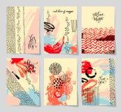 Satz abstrakter Hintergrund der Malerei 6 mit der Liebeshand geschrieben stock abbildung