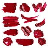 Satz Abstriche von den verschiedenen kosmetischen Produkten Stockfotos