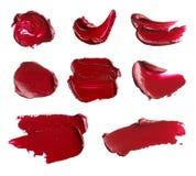 Satz Abstriche von den verschiedenen kosmetischen Produkten Lizenzfreies Stockbild