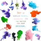 Satz Acrylfarben, aufgelöst im Wasser für Ihr Design Lizenzfreie Stockfotos