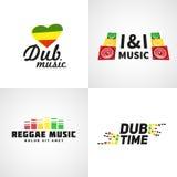 Satz Afrika-Flaggenlogodesign Jamaika-Musik Stockbilder