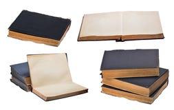 Satz alte Bücher lokalisiert auf Weiß Stockfoto