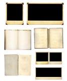 Satz alte Bücher und Fotos Stockfotografie