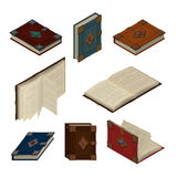 Satz alte isometrische Bücher Stockbild