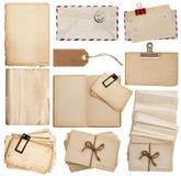 Satz alte Papierblätter, Buch, Umschlag, Postkarten, Tags Stockfotografie