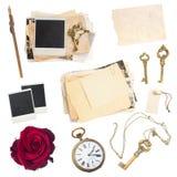 Satz alte Papierblätter, Fotos, antike Uhr Stockbilder