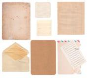 Satz der alten Papierblätter, des Umschlags und der Karte Lizenzfreie Stockfotos