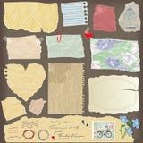 Satz alte Papierfrieden - verschiedene gealterte Papiergegenstände Stockfoto